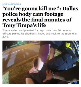 A headline in the media about the death of Tony Timpa