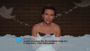 Scarlett Johansson looks shocked after reading a racist tweet on the Jimmy Kimmel Show