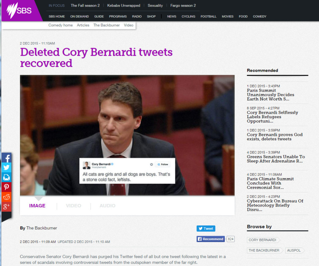 Cory Bernardi, SBS propaganda