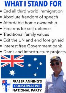 A list of policies, posted on social media by Fraser Anning