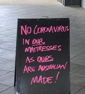 The tongue-in-cheek sign outside the Harvey Norman store in Albury