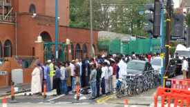 Muslims outside the Woolwich Mosque, South-East London
