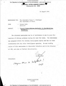 The cover sheet of the CIA memo regarding Rhodesia, dated 31 August 1976