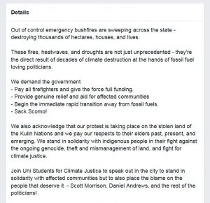 Screenshot from the organising page on Facebook