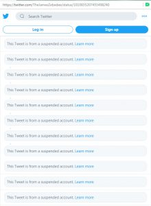 This screencapture of James Zebedee's Tweet, as it is now, is a reflection of Twitter's censorship policies