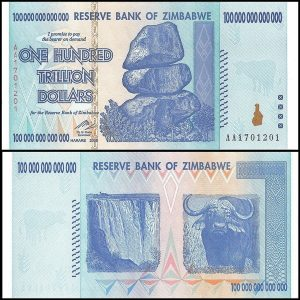 Zimbabwe's 100 Trillion Dollar note (the result of massive inflation)